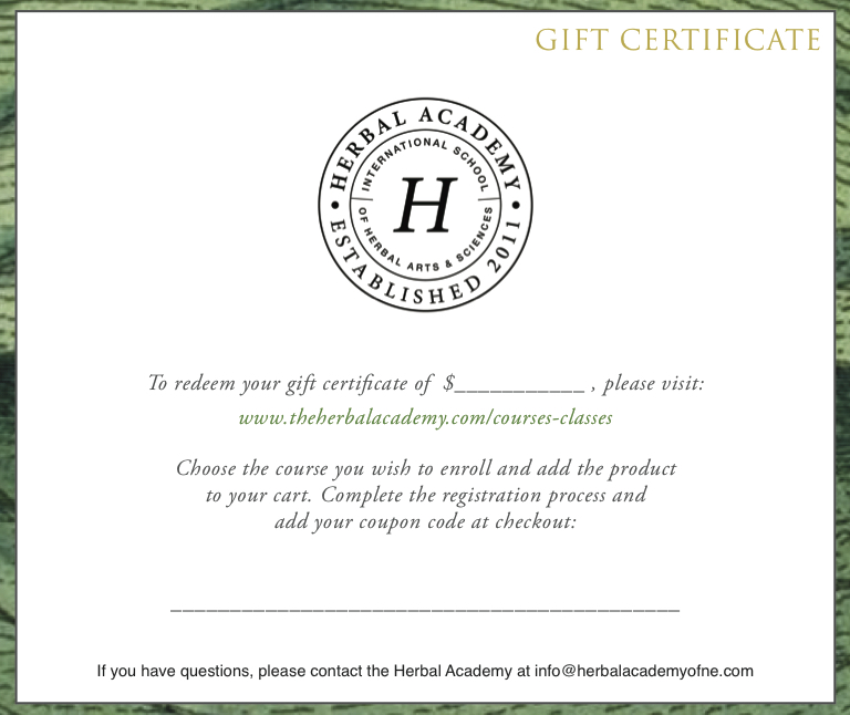 Herbal Academy dollar amount Gift Certificate