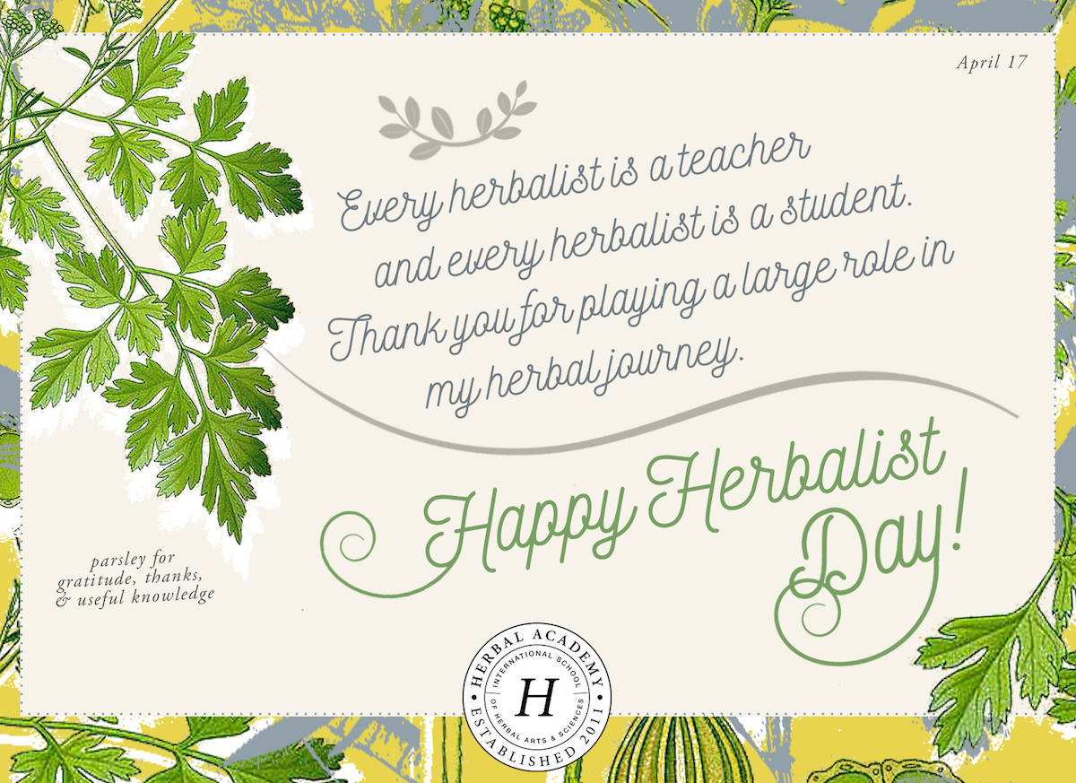 FREE Happy Thank an Herbalist Day card by Herbal Academy - parsley for gratitude