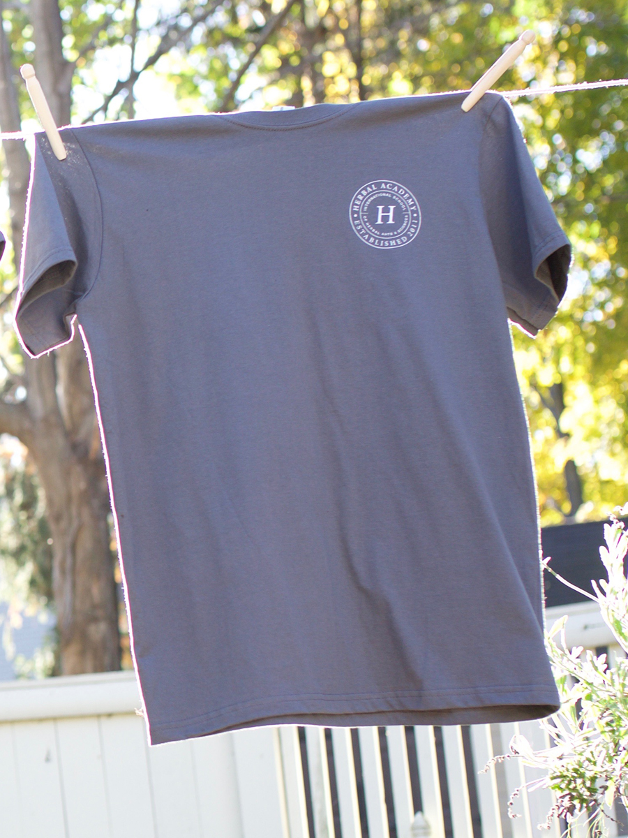Herbal Academy Crest Mens Tee shirt in gray