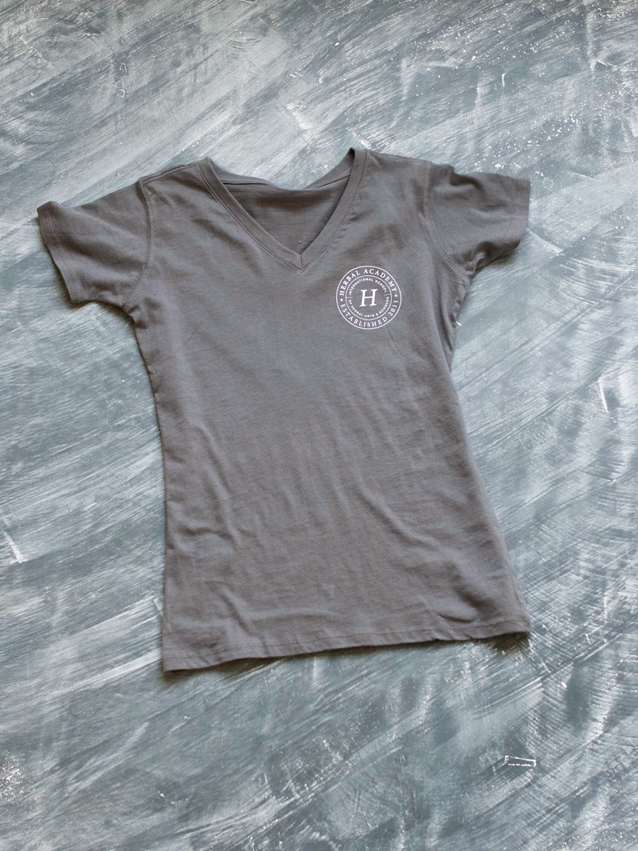 Women's Herbal Academy Crest Tee Shirt in charcoal gray - 100% organic