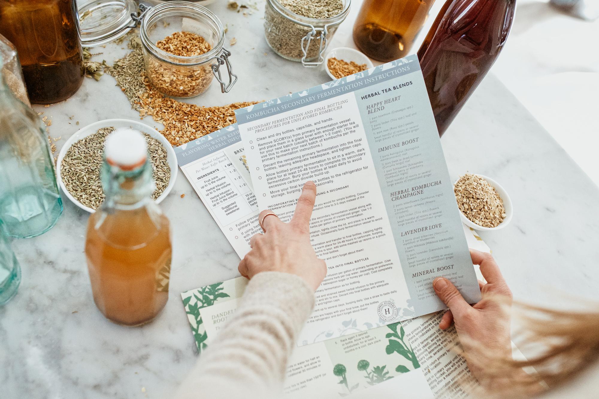 Kombucha charts in the Herbal Fermentation Course