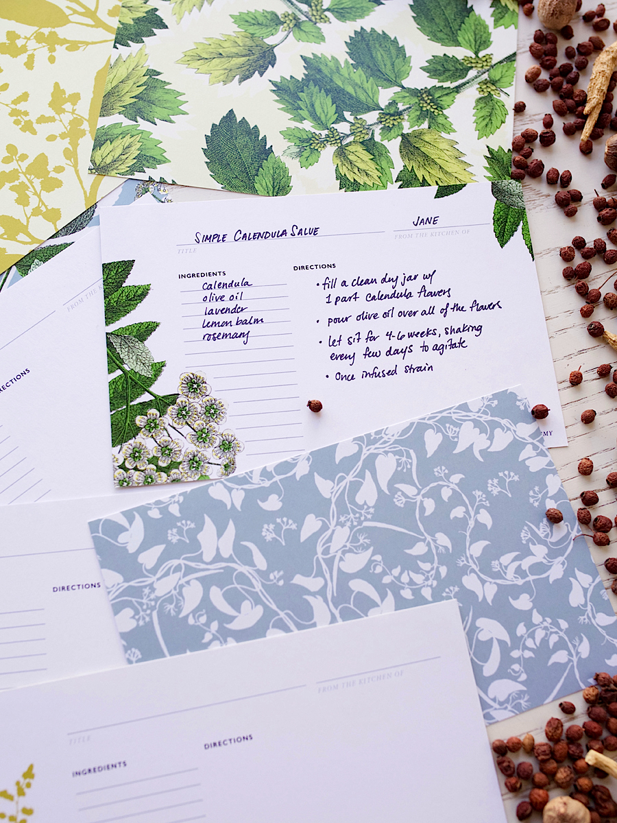 Botanical Design Recipe Cards in the Herbal Academy Goods Shop