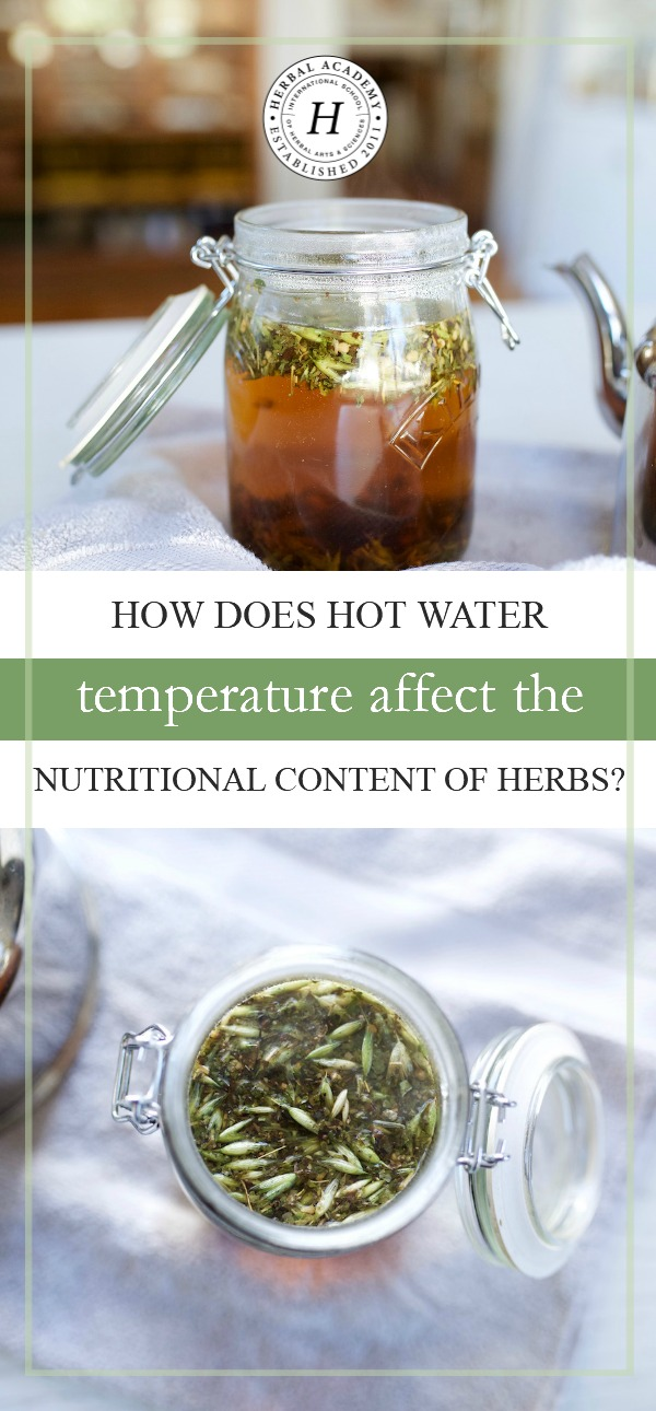 How Does Hot Water Temperature Affect The Nutritional Content Of Herbs?   Herbal Academy   Let's take a look at the good and bad side of using hot water temperatures when making herbal preparations, and how it affects the nutritional content of herbs!