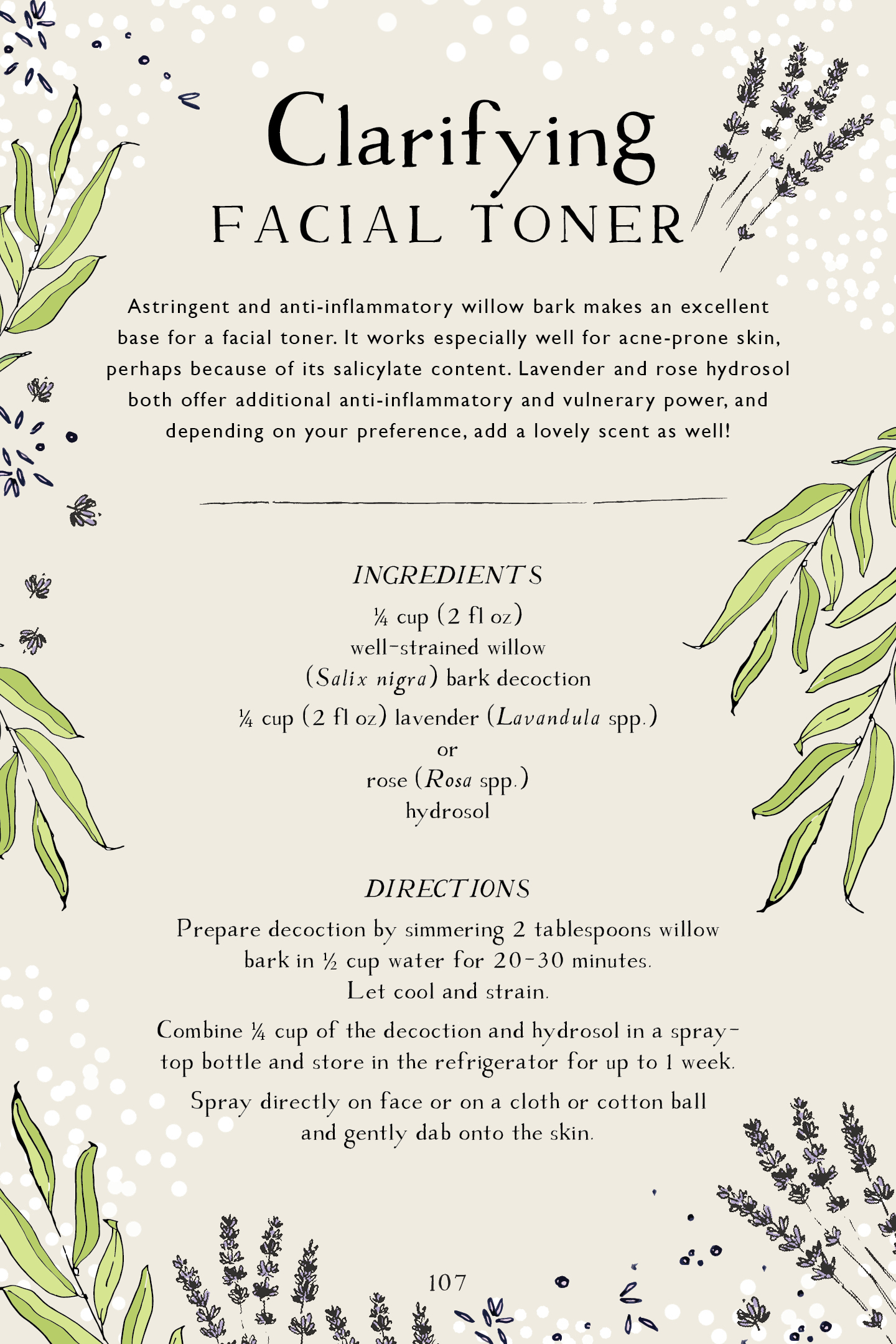 Botanical Skin Care Recipe Book Page Preview – Clarifying Facial Toner