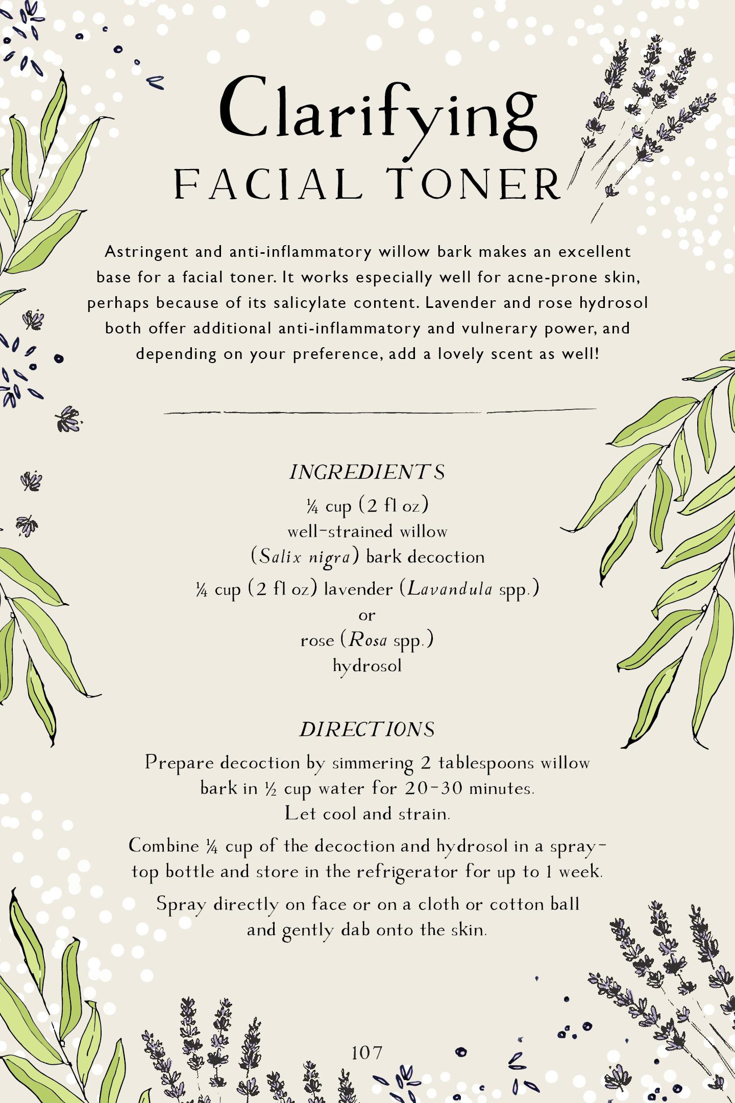 Botanical Skin Care Recipe Book Page Preview – Clarifying Facial Toner