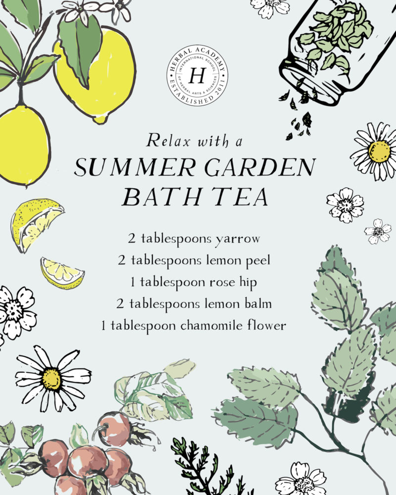 How To Make A Summer Garden Bath Tea | Herbal Academy | A summer garden bath tea is a great way to unwind. Here are our top five herbs to include plus tips for planting, growing, and harvesting these herbs too!