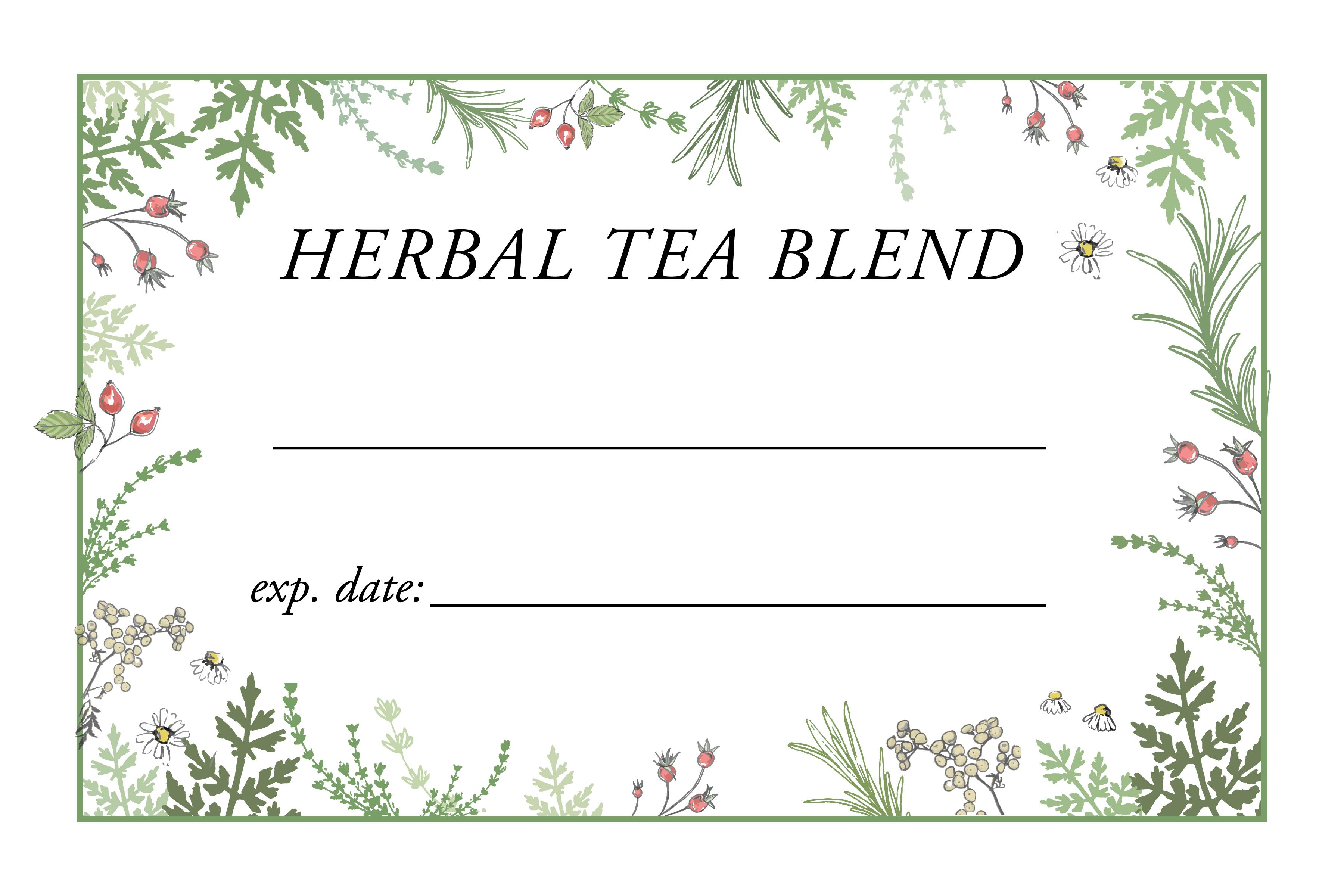 Herbal Tea Blend Label Greens4