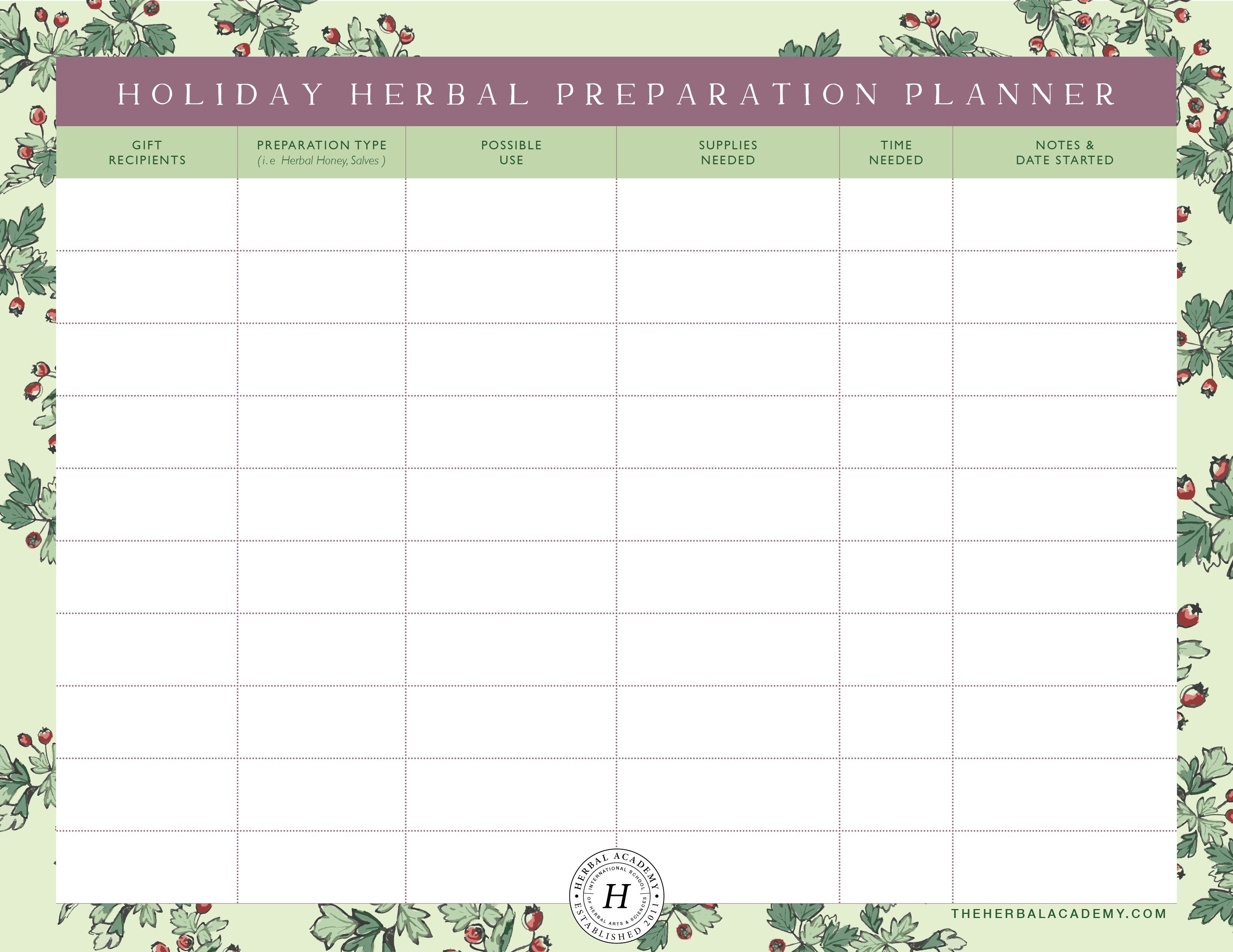Herbal Holiday Preparations Planner Printable | Herbal Academy | Use this free herbal holiday preparation planner to help you chart out your herbal brewing goals!