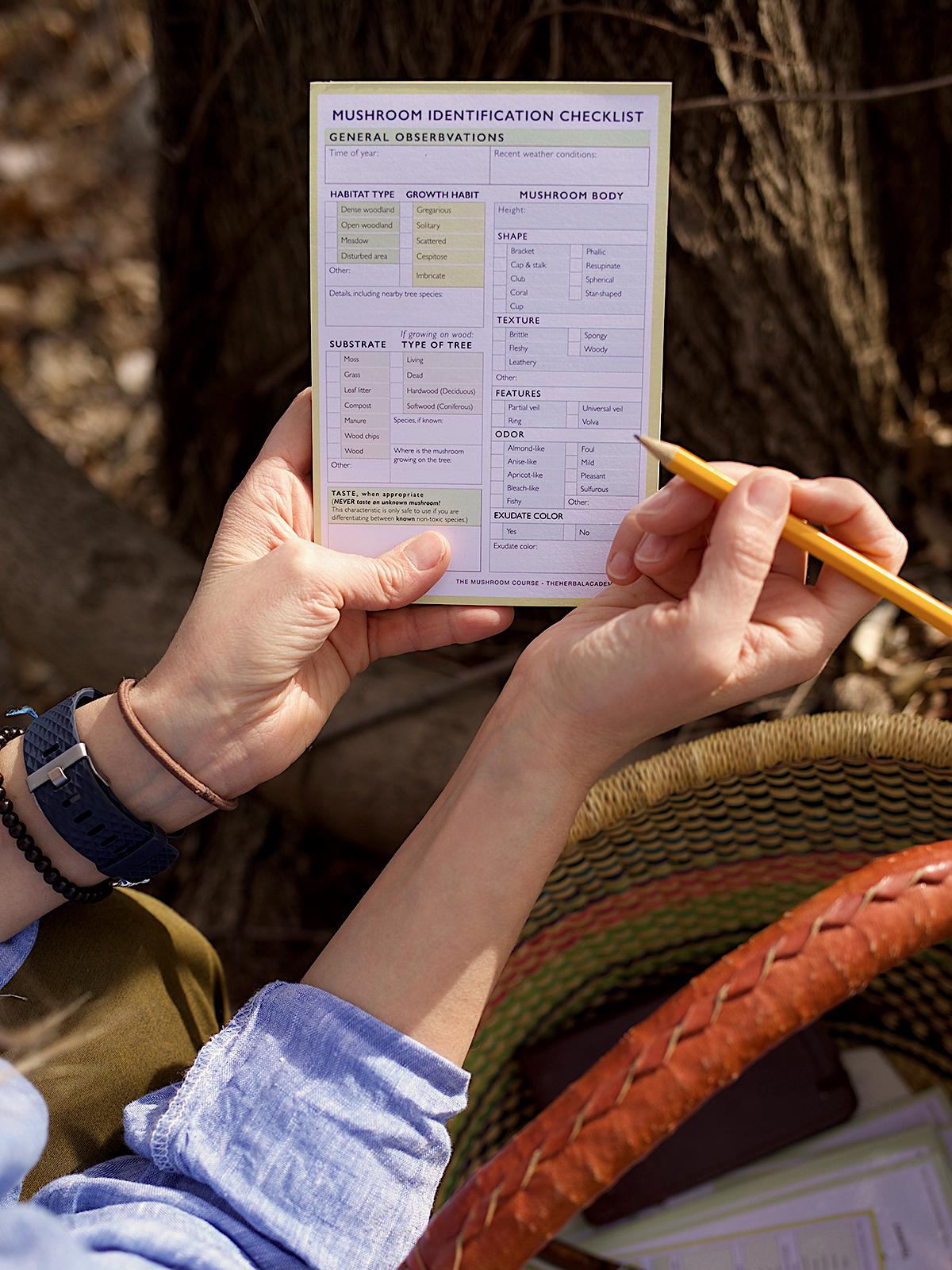 Mushroom Identification Checklist Pad by Herbal Academy