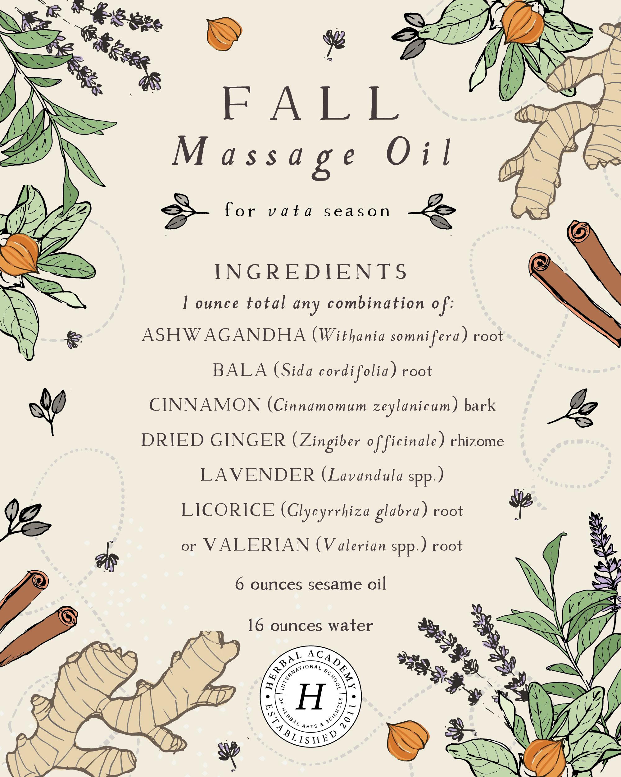 Vata massage oil recipe graphic
