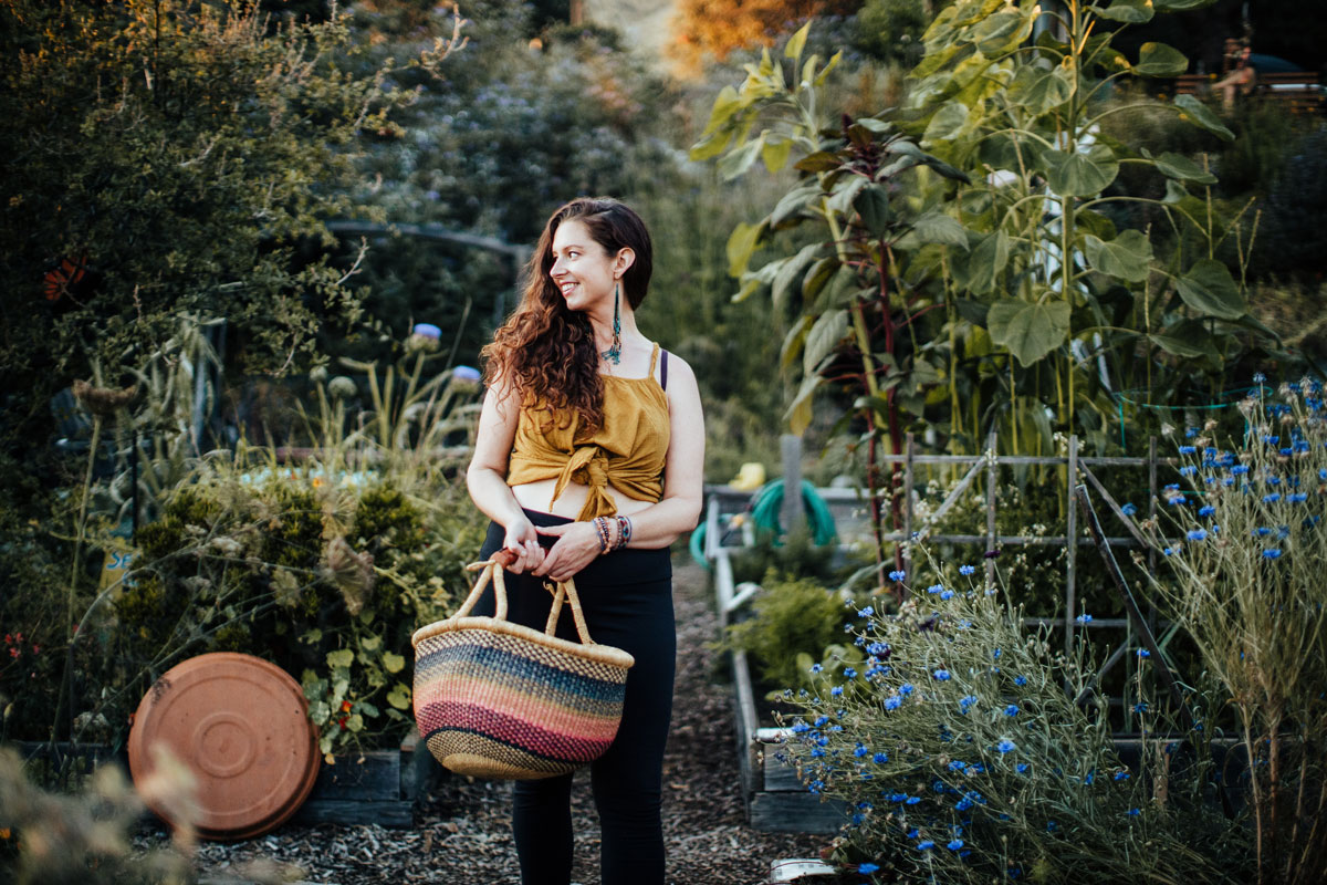 Stephanie Mary Pavelko in her california garden