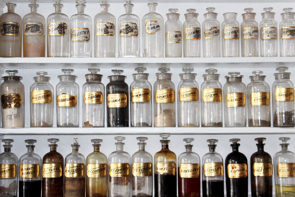 old-fashioned apothecary bottles