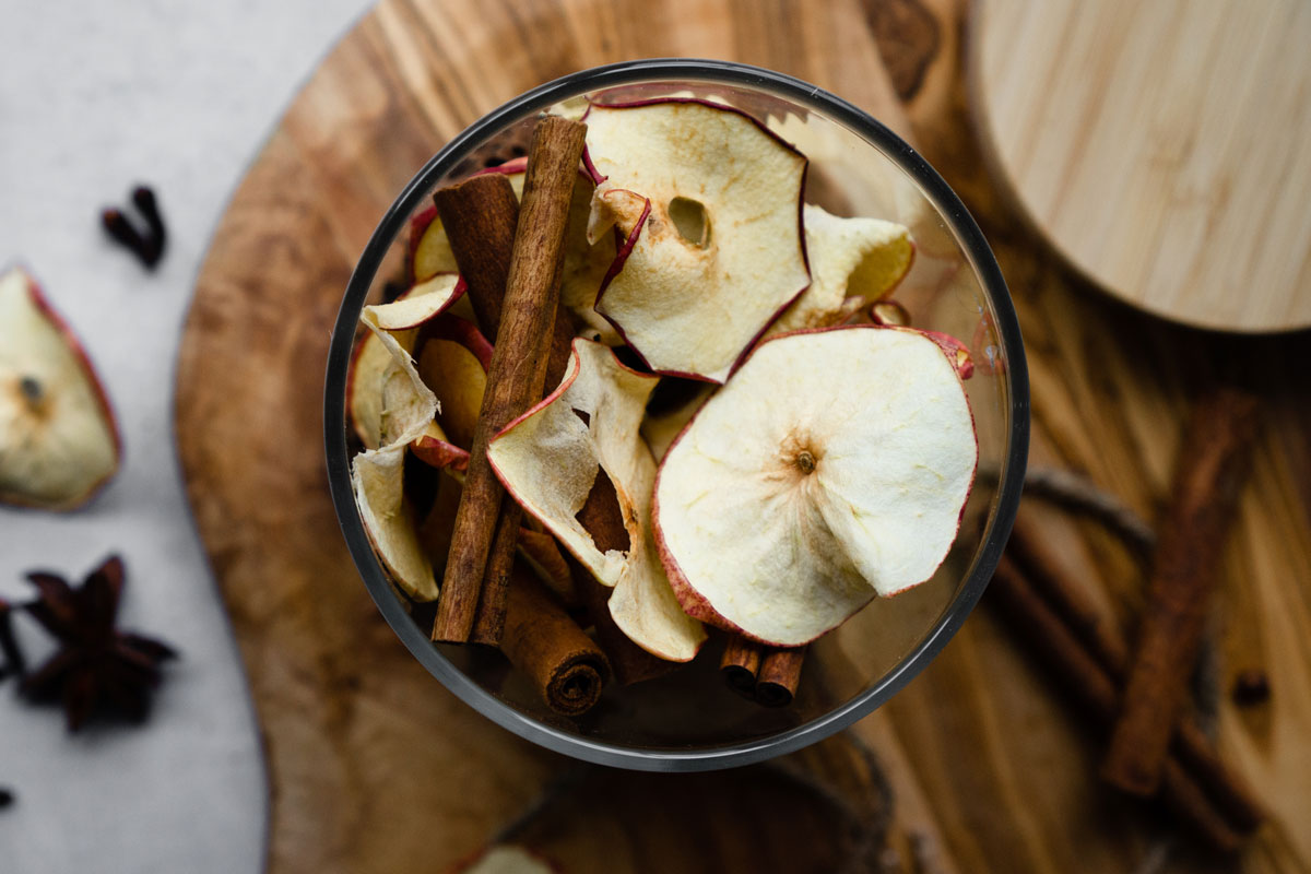 Apple cinnamon stovetop potpourri recipe in a jar overhead