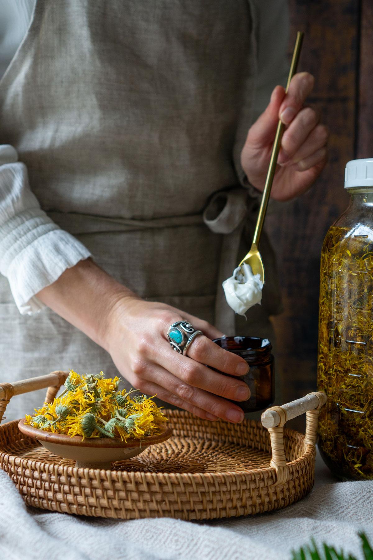 making a shelf-stable calendula cream recipe