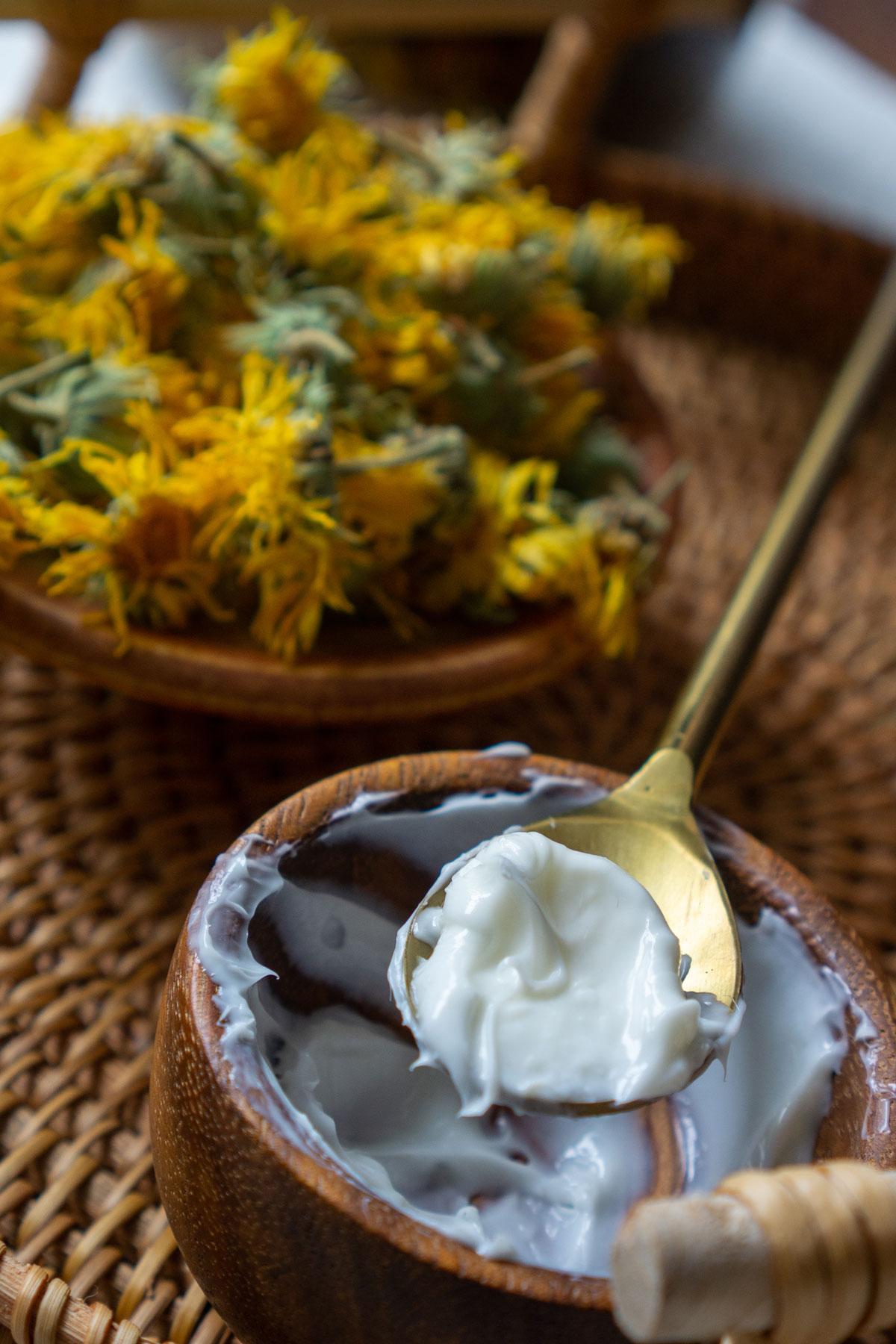 Calendula cream recipe in the making