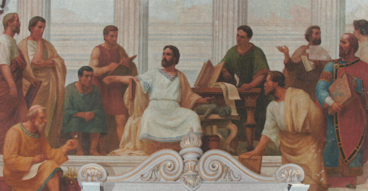 Dioscorides pictured in an ancient painting