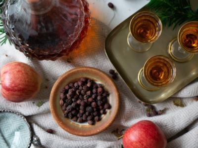 Hawthorn cordial on table