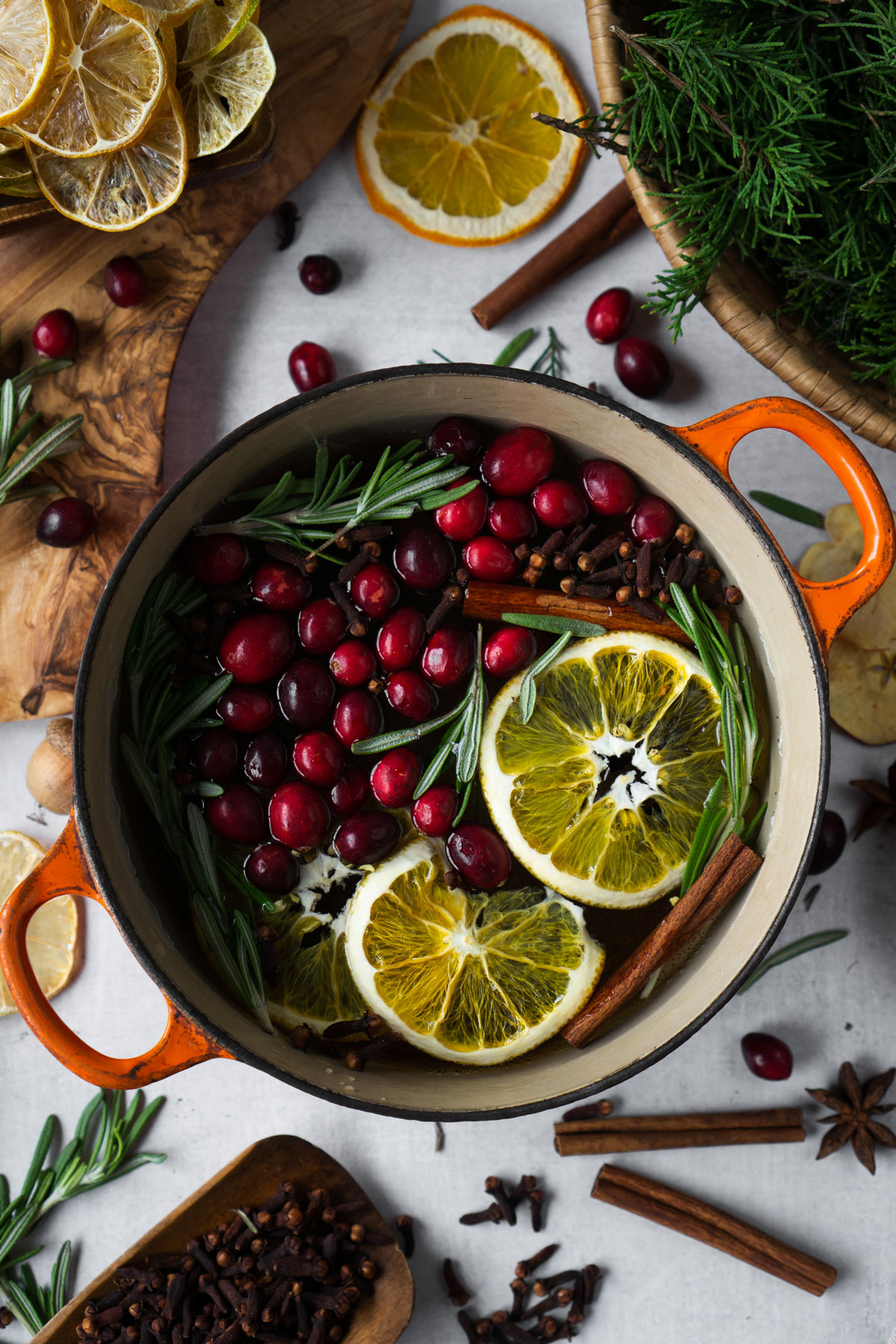 holiday stovetop potpourri recipe in a pot