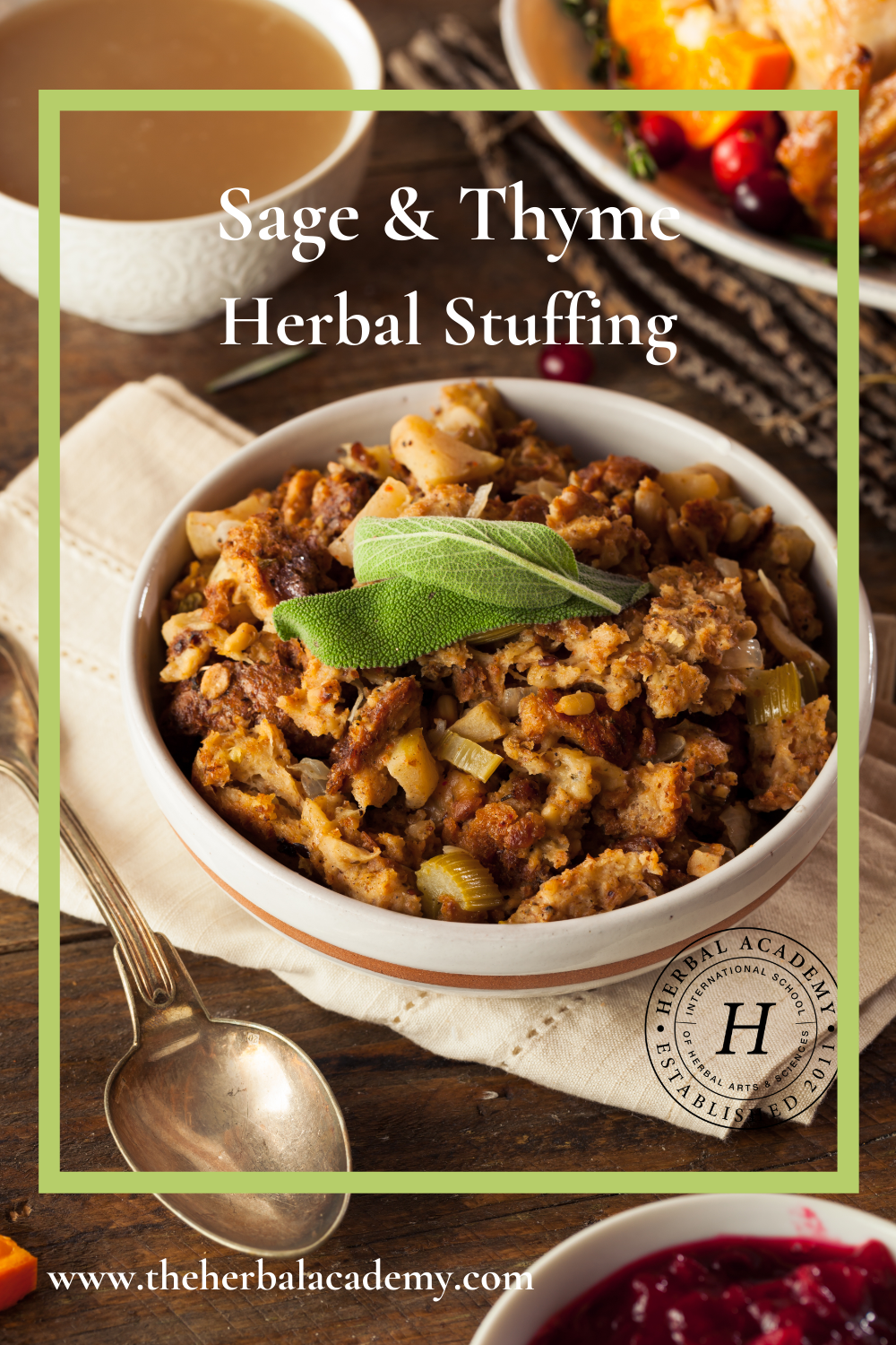 sage and thyme stuffing pintrest graphic