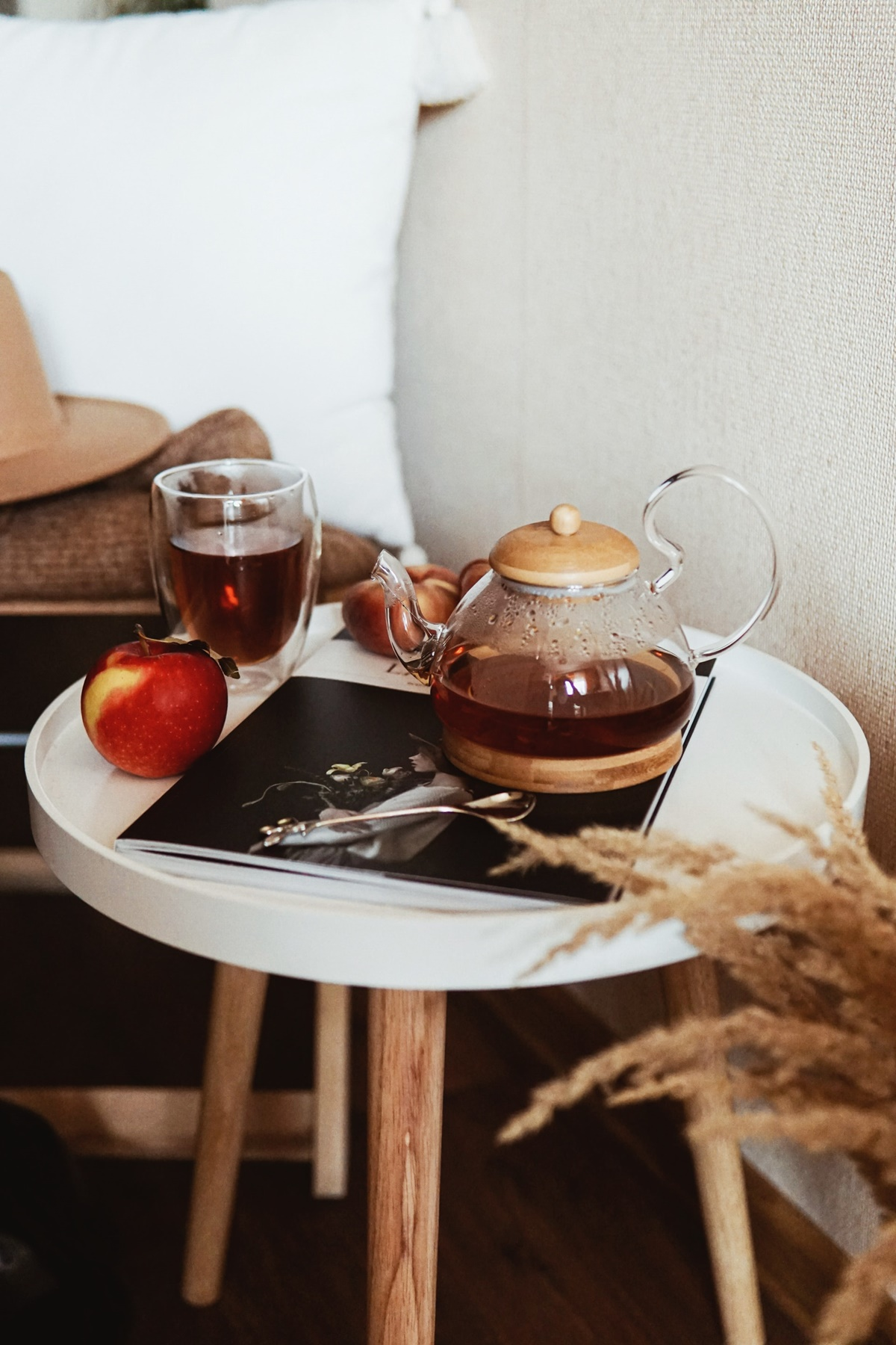 French apple cinnamon tea on a white table