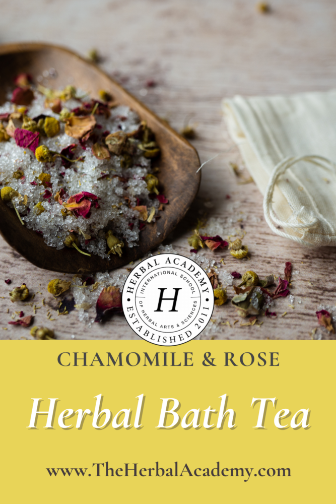 Herbal Bath Tea with Chamomile & Rose | Herbal Academy | Pintrest graphic