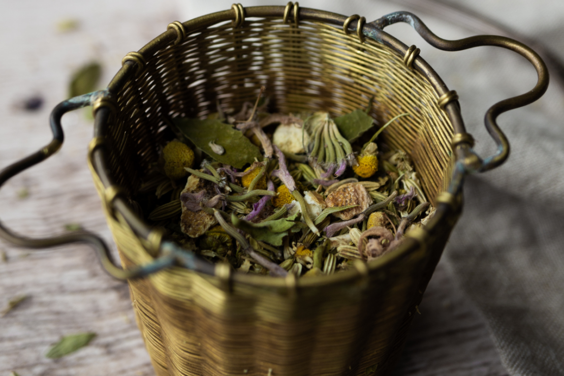 Tea with Fennel & Chamomile | Herbal Academy | loose tea in metal dish