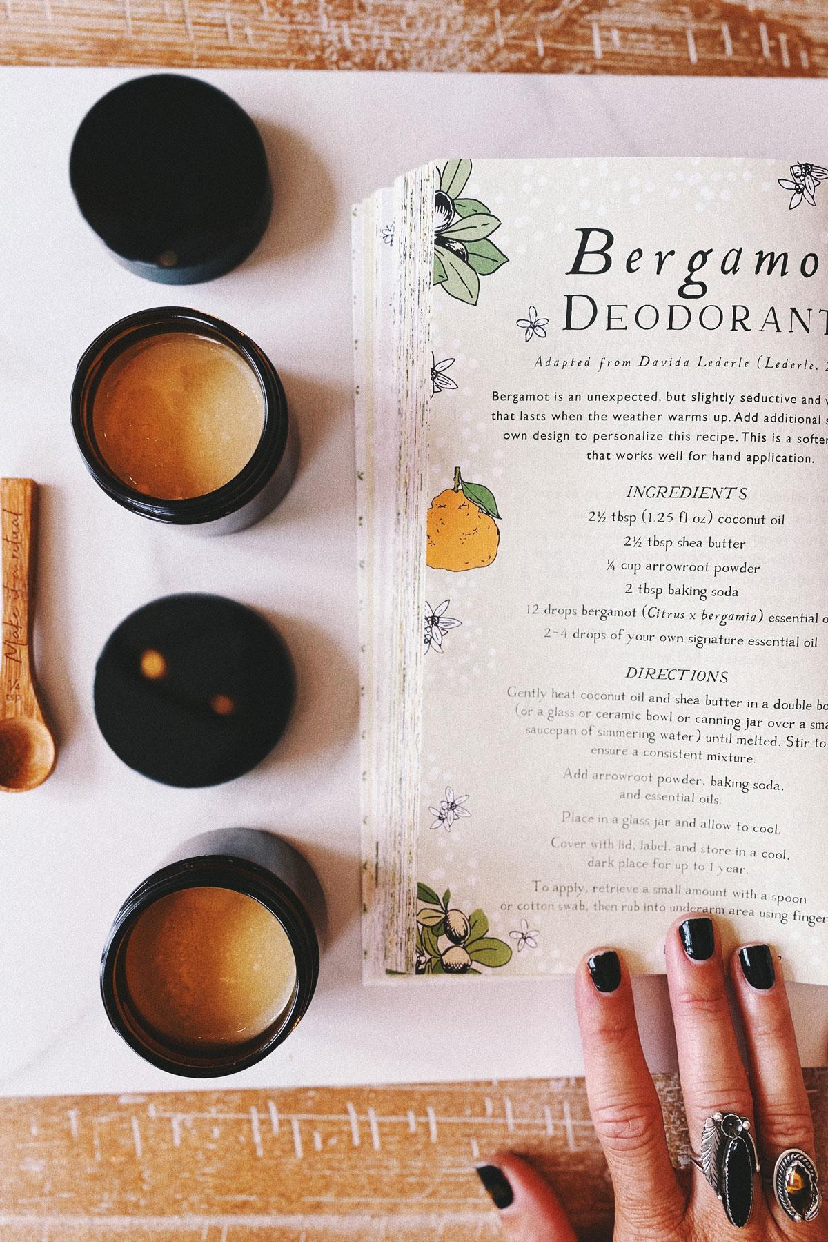 Heather Skasick making Bergamot Deodorant with Herbal Academy recipe