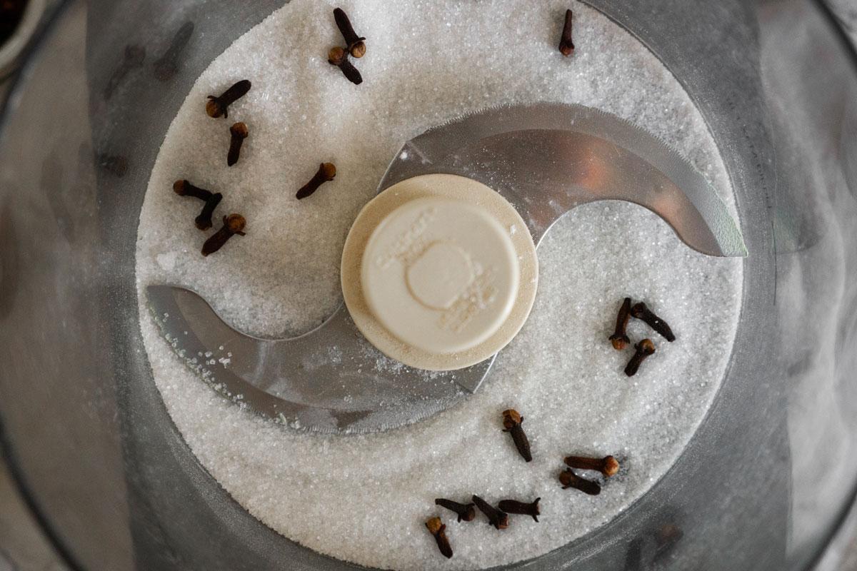 clove herbal sugar in the food processor