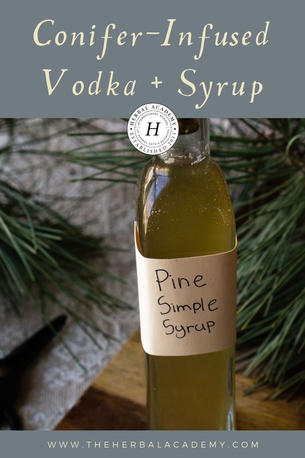 Pine simple syrup Pinterest graphic