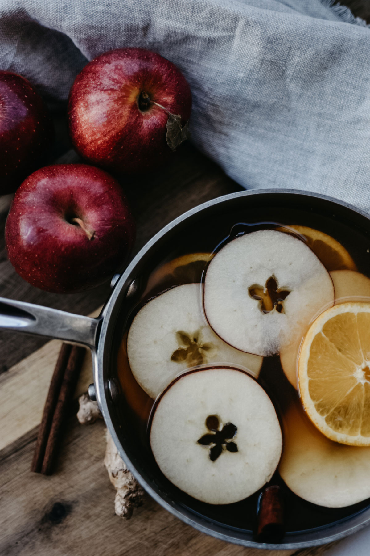 Spiced apple cider on the stovetop