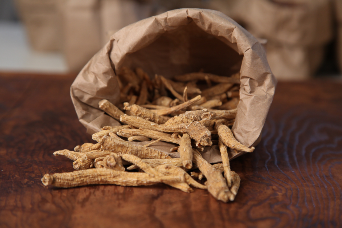 Stay Calm Adaptogen Syrup with Ashwagandha and Eleuthero | Herbal Academy | Ashwagandha in paper bag