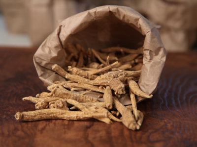 Stay Calm Adaptogen Syrup with Ashwagandha and Eleuthero   Herbal Academy   Ashwagandha in paper bag