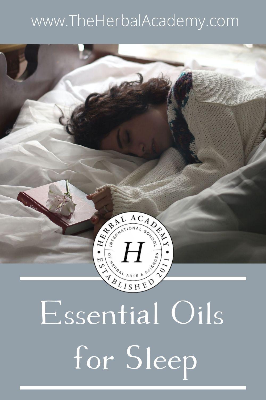 Essential oils for sleep Pinterest graphic