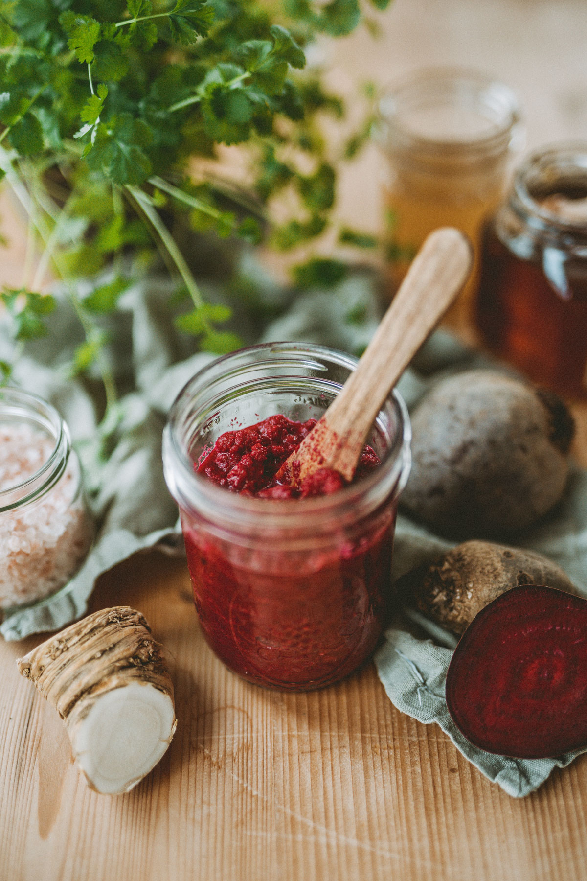 Fresh horseradish recipe with beets in a jar
