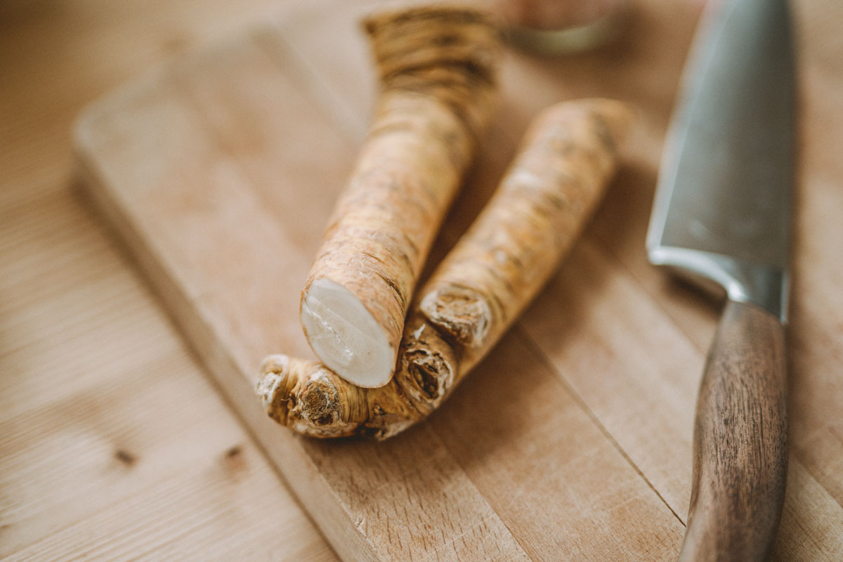 Horseradish root on a cutting board