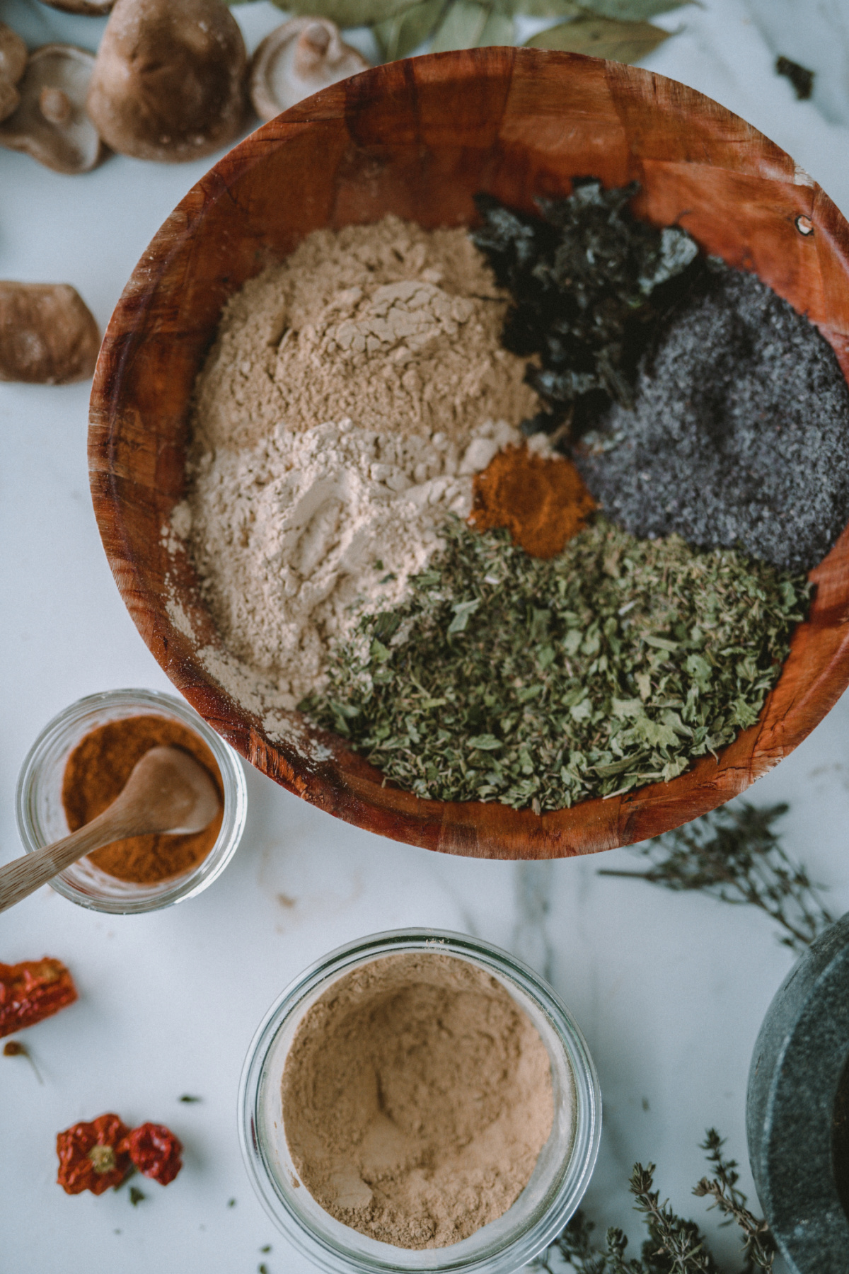 herbal soup seasoning mix in a wooden bowl