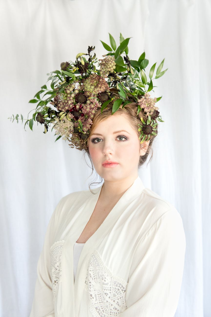 lady wearing dried flowers in her hair
