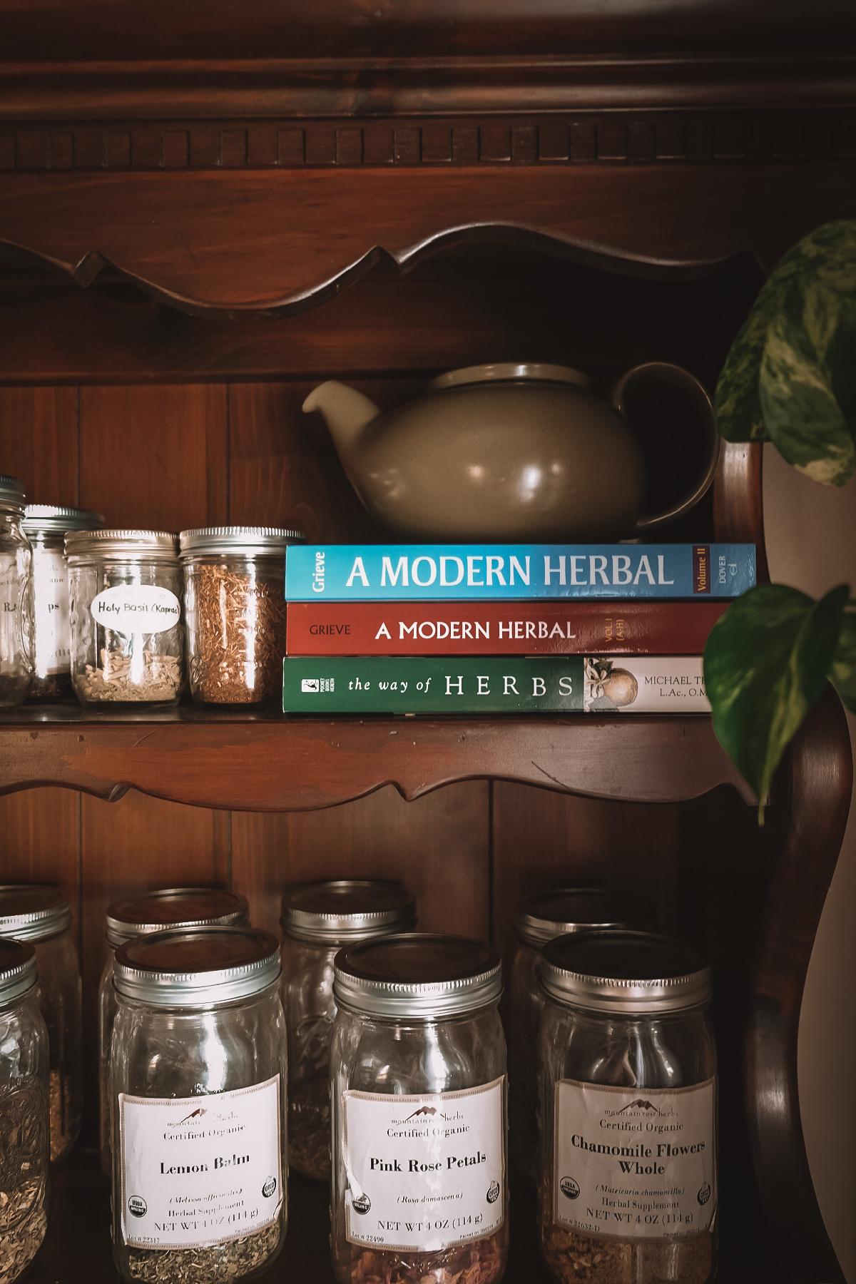 herb supplies on a shelf