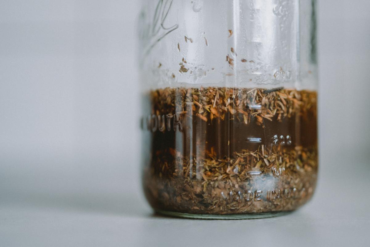 jar of infused herbs