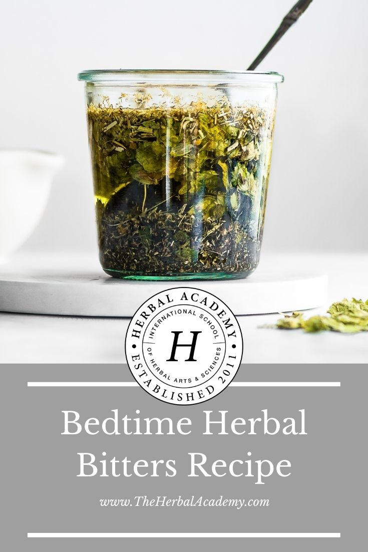 Bedtime Herbal Bitters Recipe | Herbal Academy | Tinctures are an excellent way to make and use bitter herbs. Check out this herbal bitters recipe for digestion!