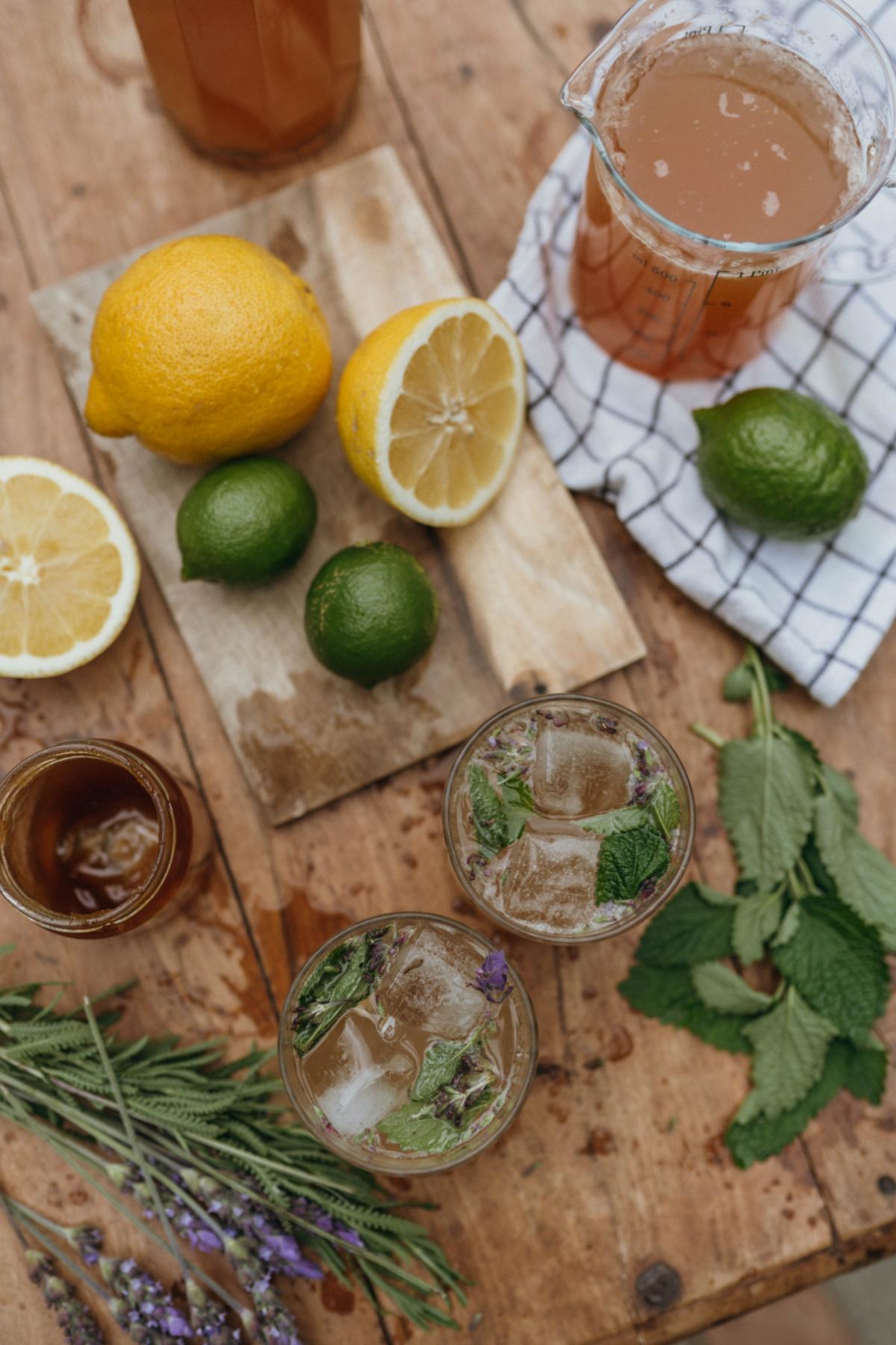 ingredients to make herbal lemonade