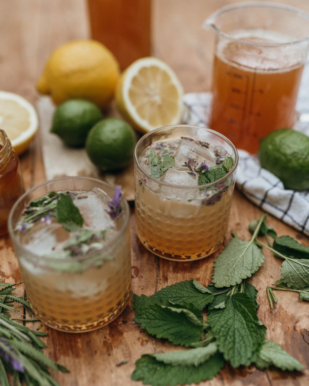 glasses of lavender-lemon balm lemonade