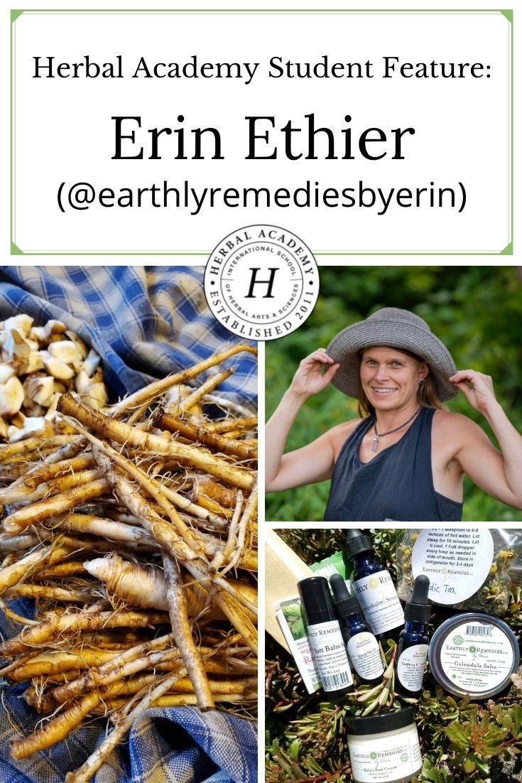 Herbal Academy Student Feature: Erin Ethier (@earthlyremediesbyerin) | Herbal Academy | For the twelfth installment of our Student Feature Series, we spoke with herbalist Erin Ethier, the owner of Earthly Remedies by Erin.