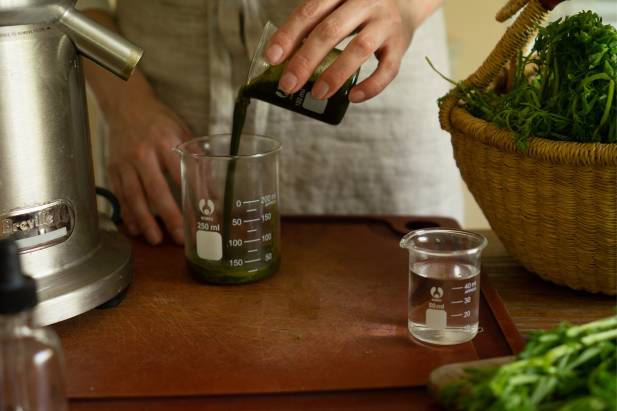 pouring plant juice into a measuring cup
