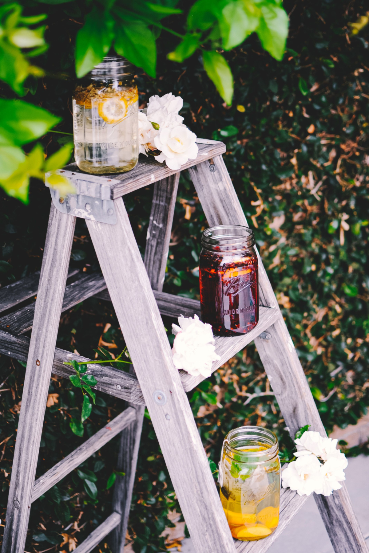 jars of tea sitting on a ladder