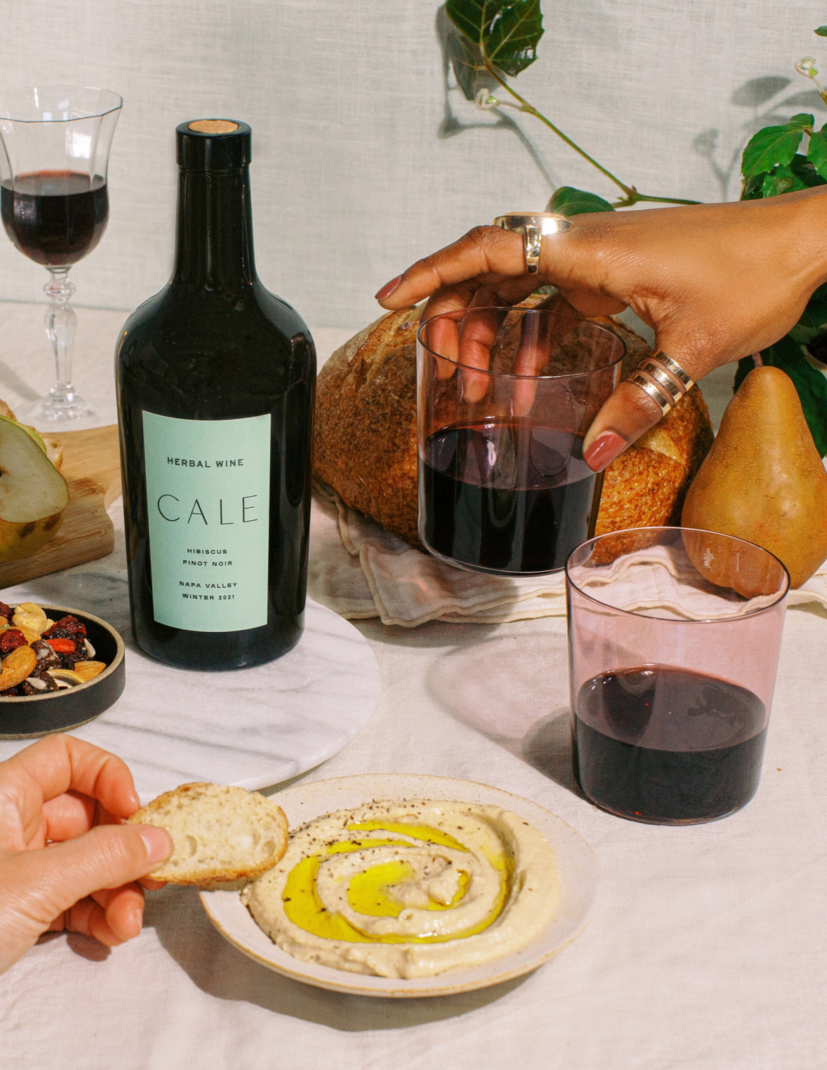 table of food and wine