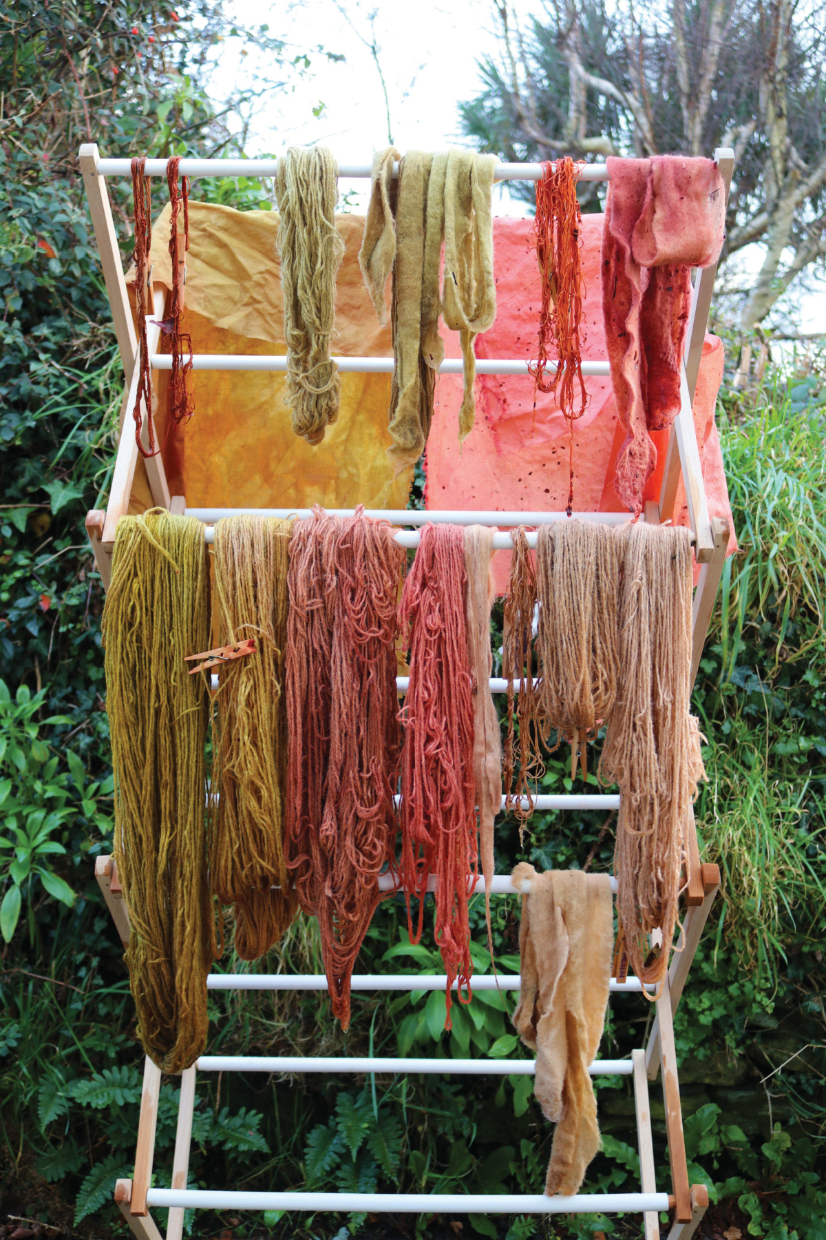 dyeing fabric on a rack