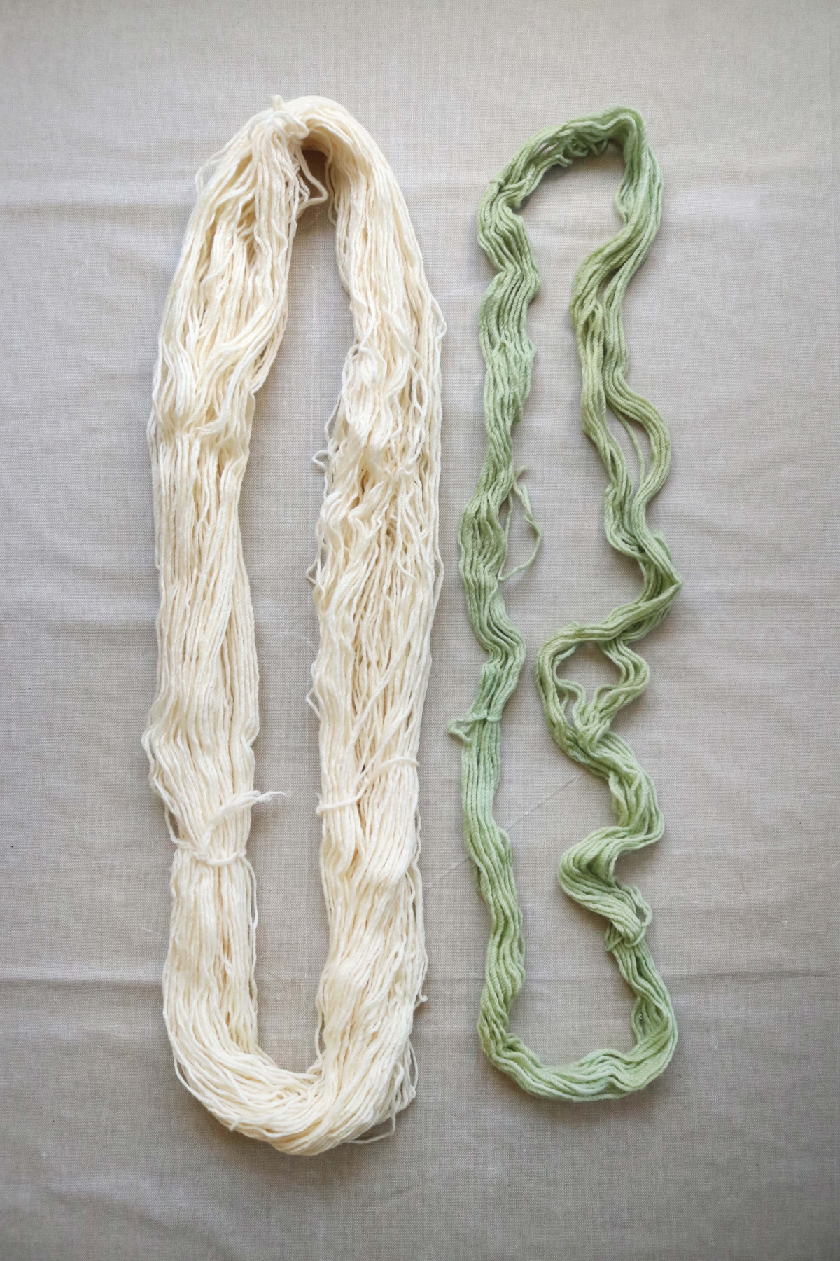 skeins mordanted with different materials