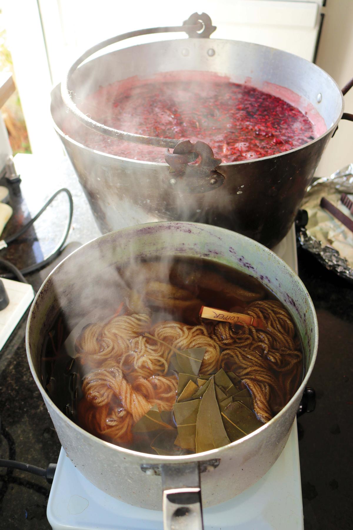 wool yarn simmering in dye baths
