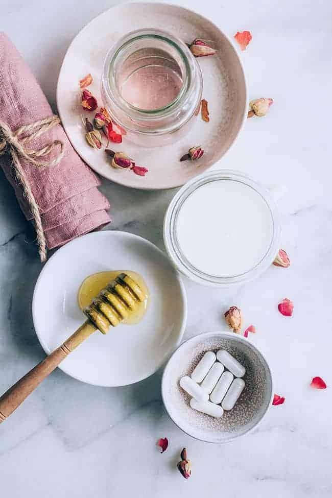 ingredients to make rose milk cleanser